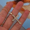 Simple cross copper inlaid zirconium necklace wholesale NHLA329893
