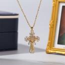 Simple cross flower copper inlaid zirconium necklace NHLA329894