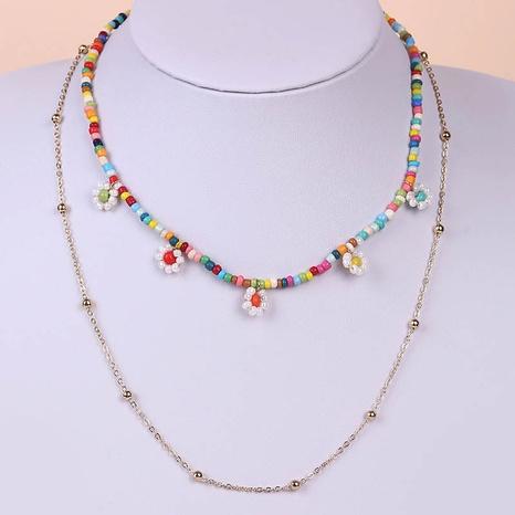 Bohemian hand-woven miyuki beads flower multi-layer necklace NHLA329898's discount tags