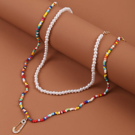 Bohemian miyuki beads multi-layer long necklace NHLA329902's discount tags