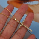 Simple cross copper inlaid zirconium necklace NHLA329903