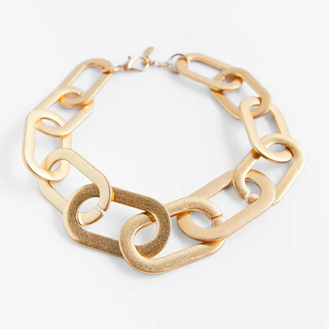 Simple thick chain metal necklace wholesale NHLA329914's discount tags