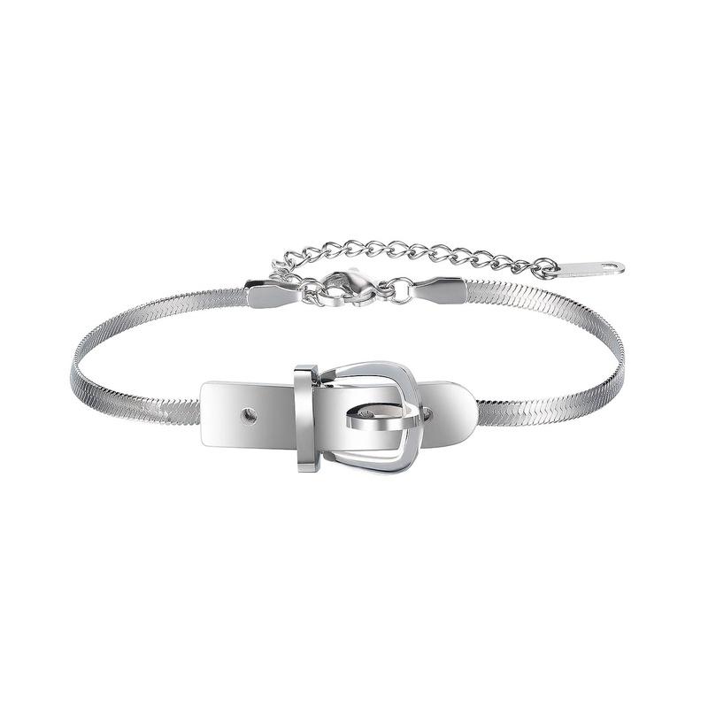 Fashion stainless steel belt buckle bracelet  NHOP329924