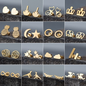 Simple stainless steel star moon earrings wholesale NHAKJ329965