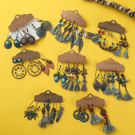 Bohemian retro tassel earring set  NHAKJ329968's discount tags