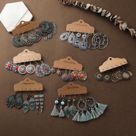 Bohemian retro new tassel earrings set NHAKJ329969's discount tags