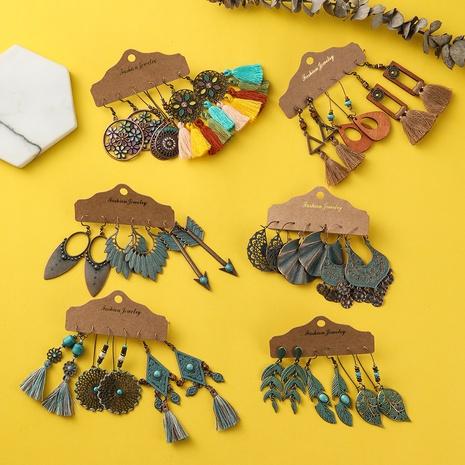 Bohemian retro tassel earring set NHAKJ329970's discount tags