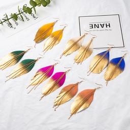 Ohrringe aus böhmischer Blattkettenlegierung mit Farbverlauf NHAKJ329975