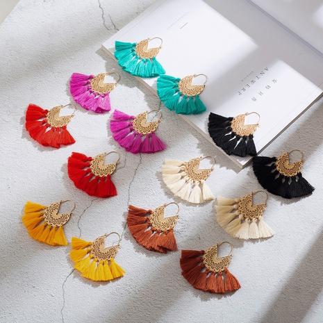 New geometric woven pattern U-shaped alloy tassel earrings NHAKJ329976's discount tags