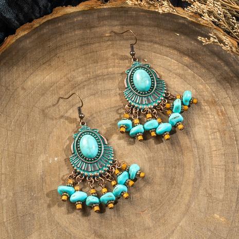 Bohemian oval tassel earrings NHAKJ329981's discount tags