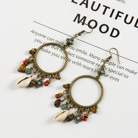 bohemian circle shell turquoise flower alloy earrings NHAKJ329984's discount tags