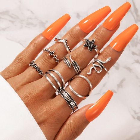 retro simple snake-shaped ring set NHGY330023's discount tags