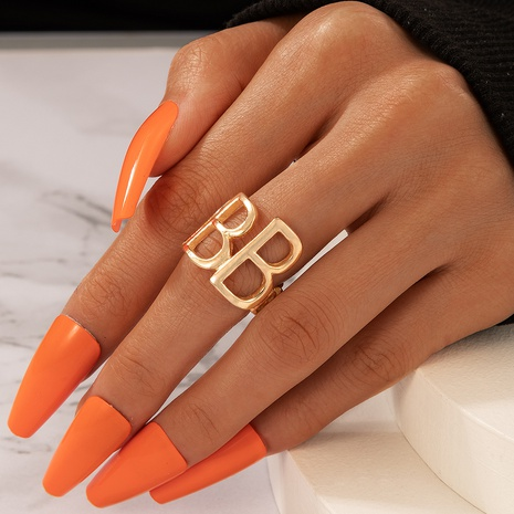 simple fashion letter BB ring  NHGY330017's discount tags