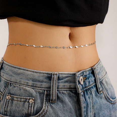 fashion simple trendy geometric water ripple waist chain NHGY329605's discount tags