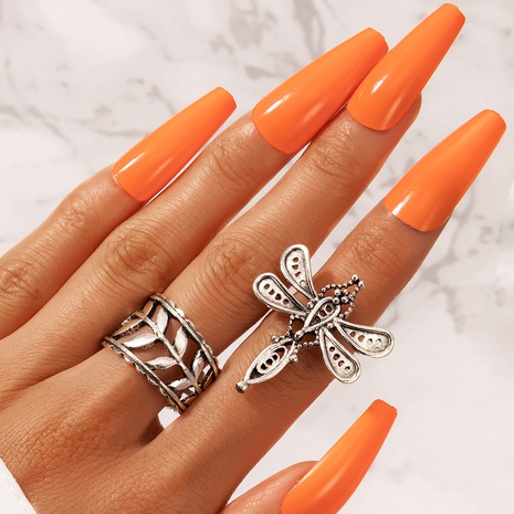 retro simple hollow leaf cute dragonfly ring NHGY330016's discount tags