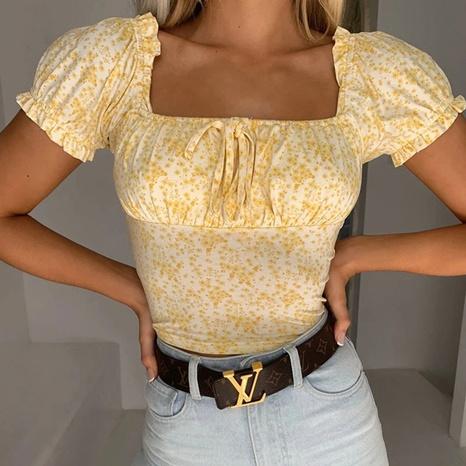 T-shirt amincissant floral imprimé sexy en dentelle poitrine enveloppée d'été NHJG329995's discount tags