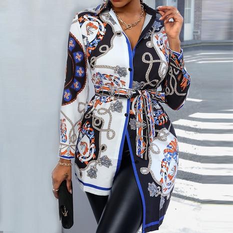 Chemisier irrégulier d'impression de mode pour les femmes NHJC329994's discount tags
