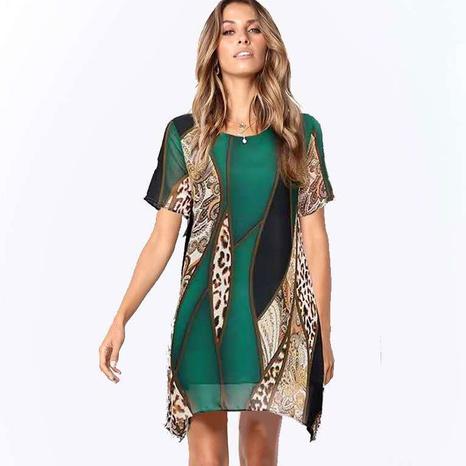 Blouse femme mi-longue imprimée en mousseline de soie à manches courtes NHJC329991's discount tags