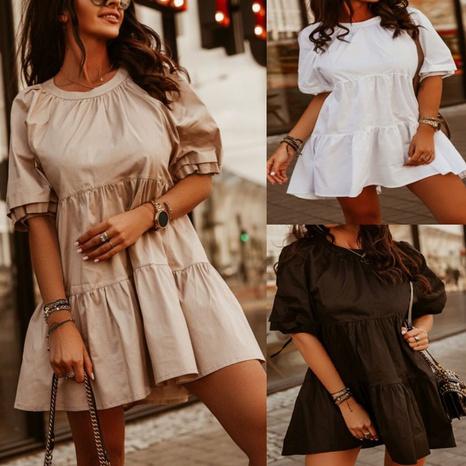 Vestido a capas con dobladillo con manga abullonada y cuello redondo de verano nuevo NHJG329988's discount tags