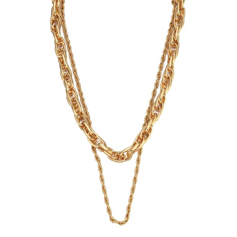 Simple double-layer chain metal necklace NHBD330060's discount tags