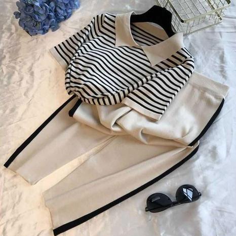 Conjunto de pantalones de camiseta de dos piezas casuales de punto de verano NHJC330589's discount tags