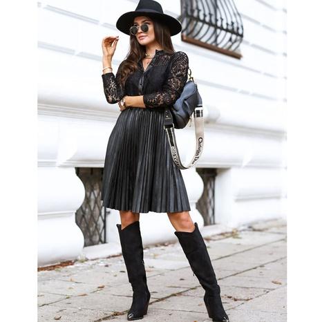 Nuevo vestido de cintura de manga larga de encaje con costuras de PU negro NHJG330588's discount tags