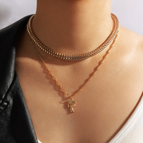 Multilayer coconut tree pendant chain necklace NHGY330586's discount tags