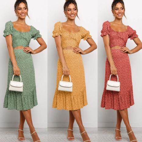 Vestido floral con mangas abullonadas sin cintura y cuello redondo estampado de verano NHJG330585's discount tags