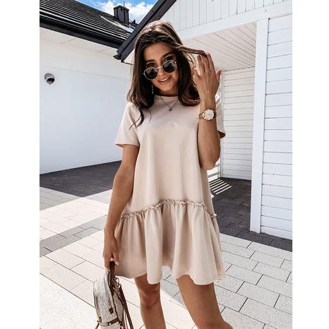 Vestido de verano con volantes y cuello redondo suelto de manga corta de color sólido NHJG330583's discount tags