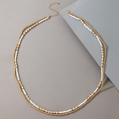 Retro golden handmade round beaded necklace NHGY330576's discount tags