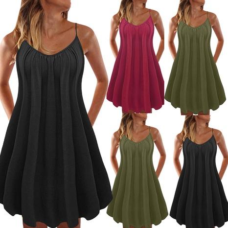 Robe courte de fronde de couleur unie décontractée de mode d'été pour dames NHUO330568's discount tags