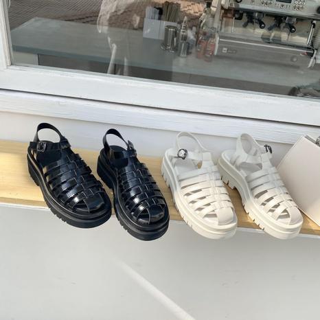 sandalias de hebilla de una palabra huecas tejidas a la moda NHHU330264's discount tags