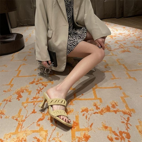 Sandalias coreanas de tacón alto con pliegues abiertos NHHU330270's discount tags