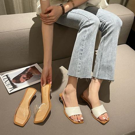 zapatillas transparentes de punta abierta de tacón medio de moda NHHU330272's discount tags
