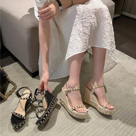 remache palabra hebilla cuña tacón alto sandalias de punta abierta NHHU330275's discount tags