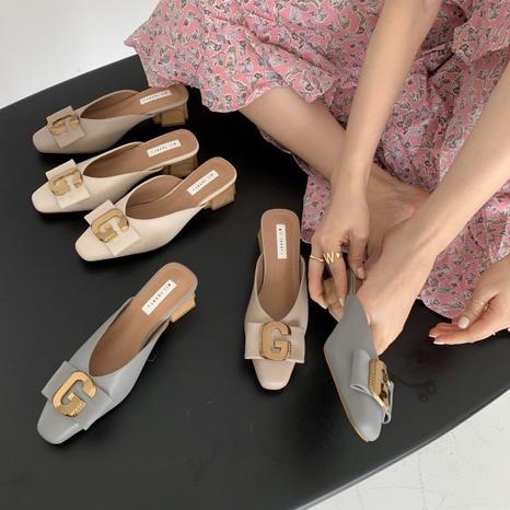 Sandalias coreanas de tacón alto con hebilla de metal NHHU330283's discount tags