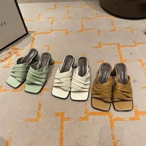 Zapatillas de punta abierta con punta cuadrada y tacón grueso de moda NHHU330294's discount tags