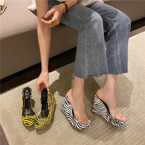 sandalias de cuña con plataforma de pez con diseño de cebra NHHU330299's discount tags