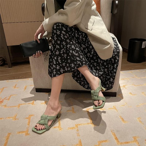 Sandalias coreanas de tacones altos con punta cuadrada abierta tejida NHHU330329's discount tags