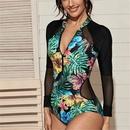 Maillot de bain une pice  manches longues avec coutures en maille  la mode NHHL330337