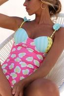 sexy Badeanzug mit SpitzenSchultergurt und einteiligem Print NHHL330381
