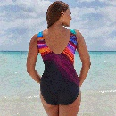 maillot de bain une pice sexy  rayures colores NHHL330388