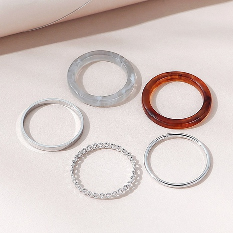 fashion resin metal ring set NHPS330549's discount tags