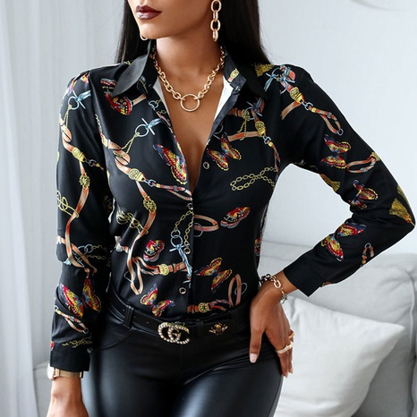 Nouveau chemisier en mousseline fleurie à manches longues pour femme NHJC330557's discount tags