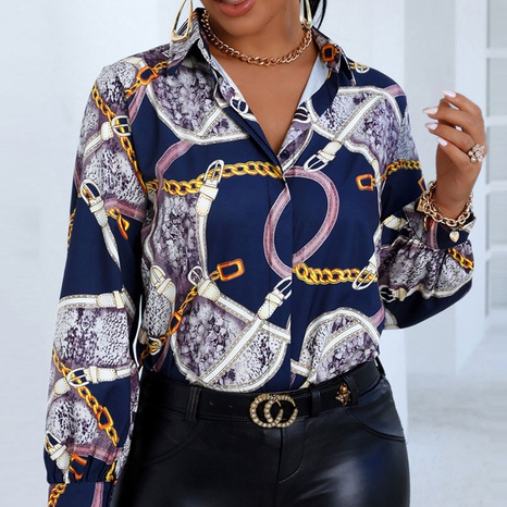 Camisa con estampado de cadena blusa casual de manga larga para mujer NHJC330556's discount tags