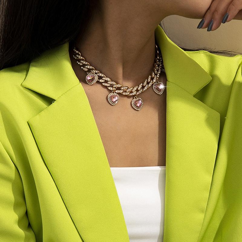 retro microinlaid heart rhinestone adjustable necklace NHXR319578