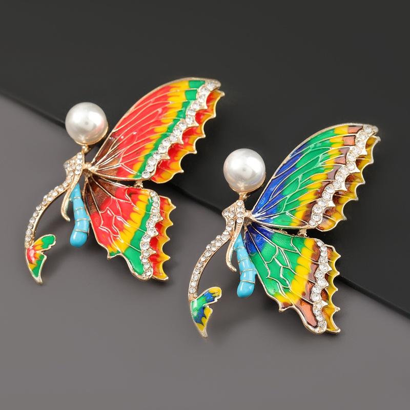 fashion alloy dripping oil diamond butterfly brooch NHJE319579