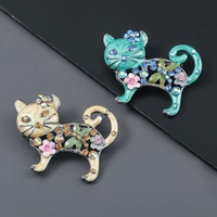 fashion alloy oil-studded flower cat brooch  NHJE319588