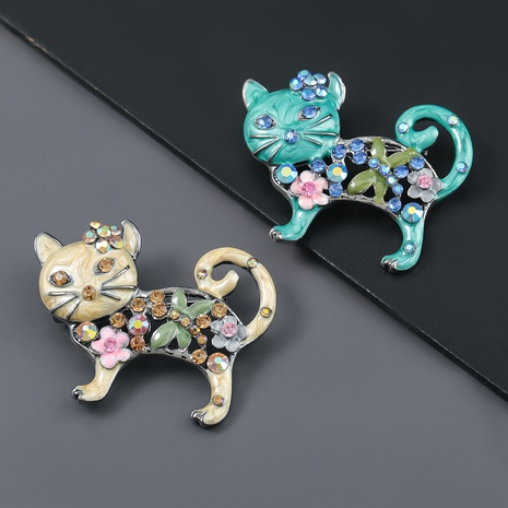 fashion alloy oil-studded flower cat brooch  NHJE319588's discount tags