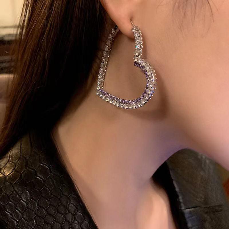 fashion heartshaped alloy rhinestone earrings NHJE319599
